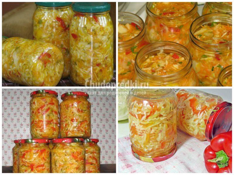 Салат на зиму с огурцами капустой помидорами