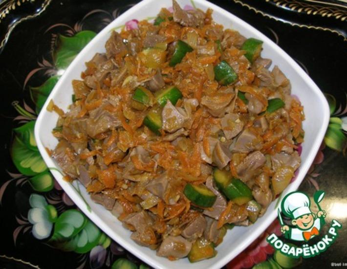 Хе из куриных желудков по корейски рецепт с фото