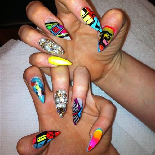 Funky stiletto nails