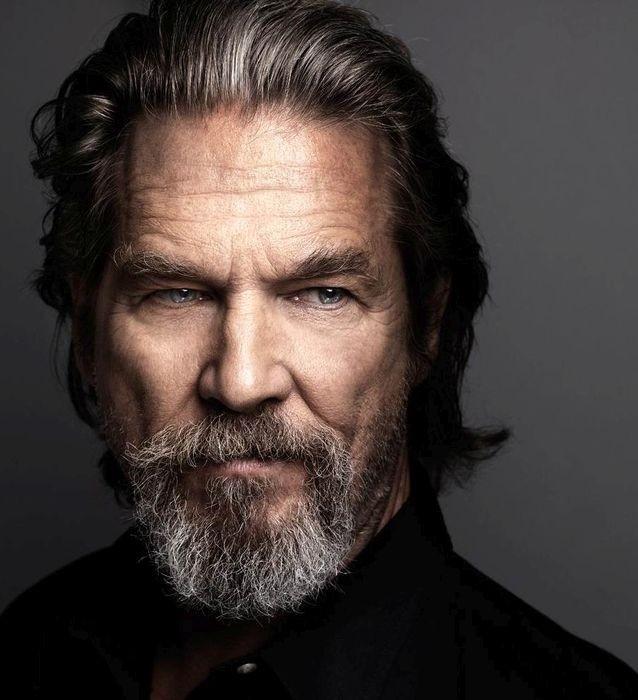 голливудская борода с усами с сединой