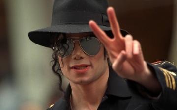 обоя музыка, michael, jackson, очки, жест, шляпа