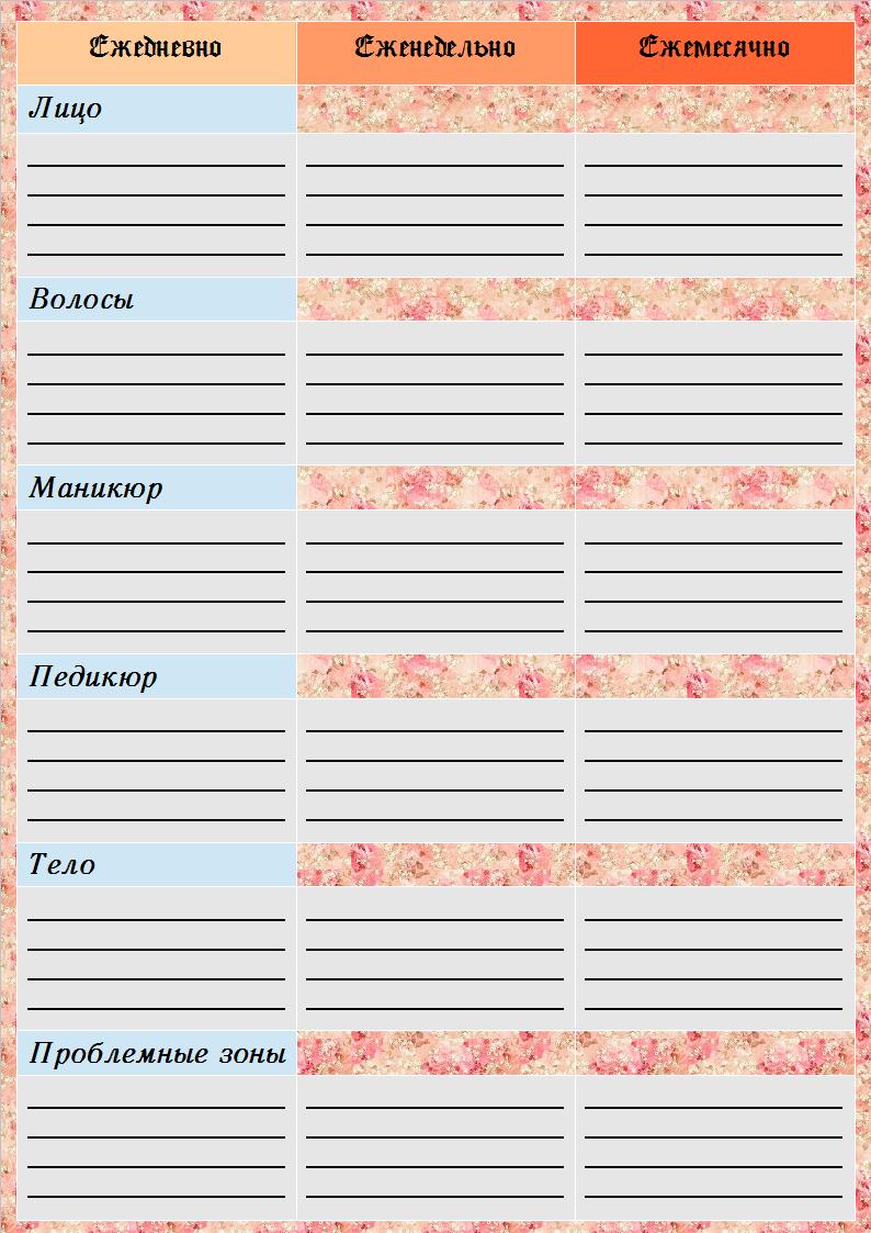 Пустой бланк из контрольного журнала флай леди для планирования мероприятий по уходу за собой