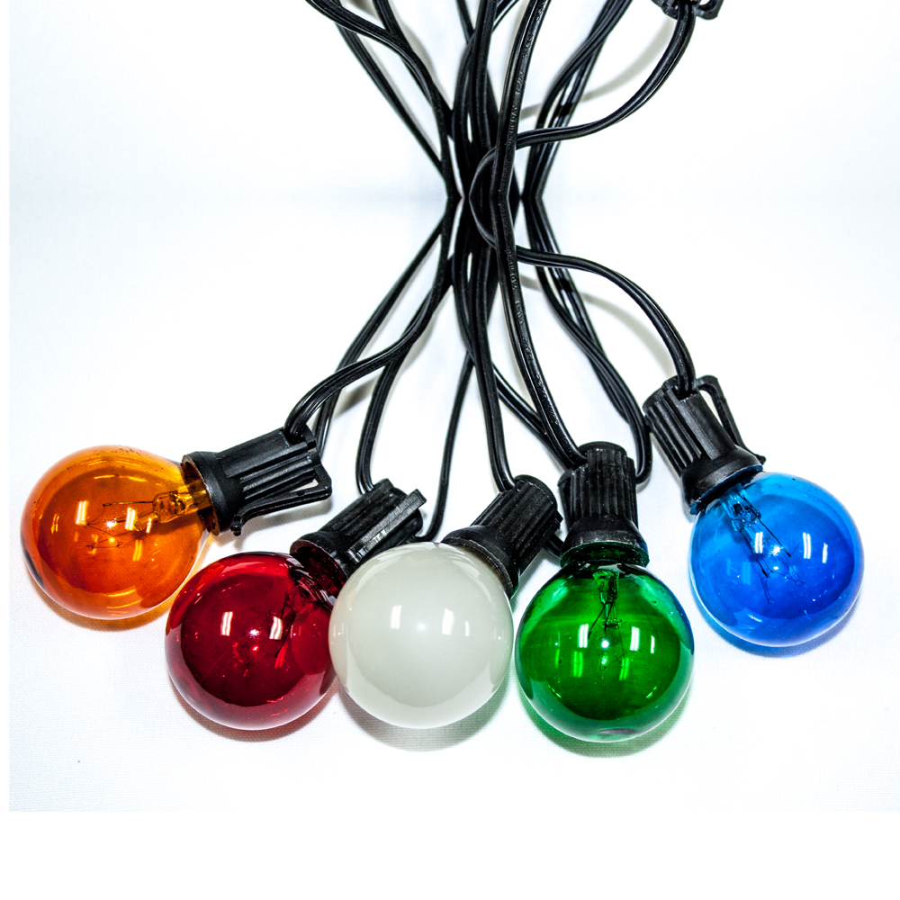 Global String Lights - 25ft / 25 lights - Muli-color Bulbs - Blue/Amber/Green/Red  - 20 gauge cord   UL