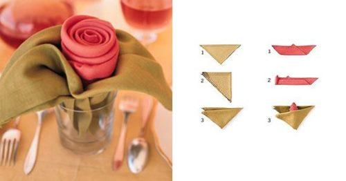 Сложить листья розы из салфетки