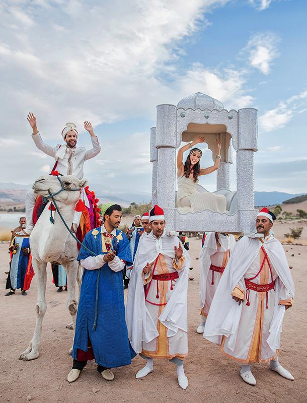 Образы жениха и невесты напоминали героев восточной сказки — принцессы Жасмин и Аладдина. Костюм Нори был куплен в одном из специализированных магазинов Лондона. Свой идеальный наряд (платье и украшения) Инга нашла в Chanel