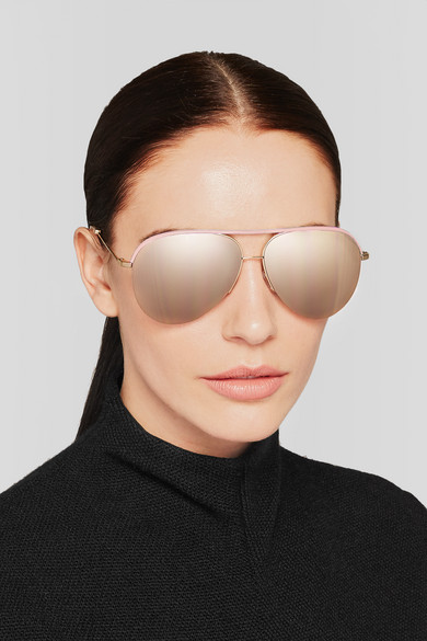 Victoria beckham leather and gold aviator