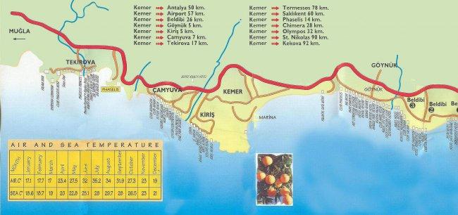 Курорты турции на карте кемер