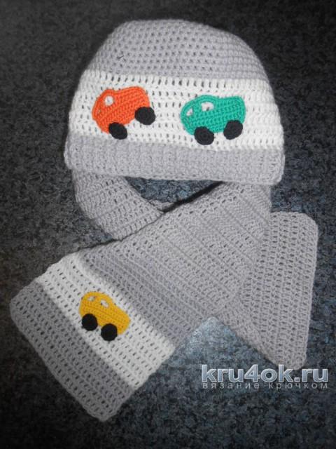 Шапка и шарф для мальчика. Работа Татьяны Султановой