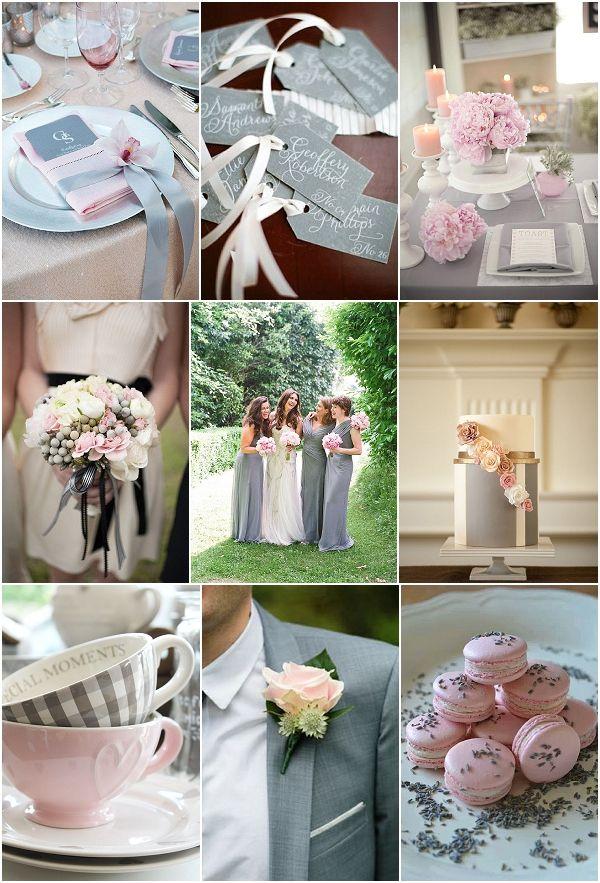 Pink grey wedding decor