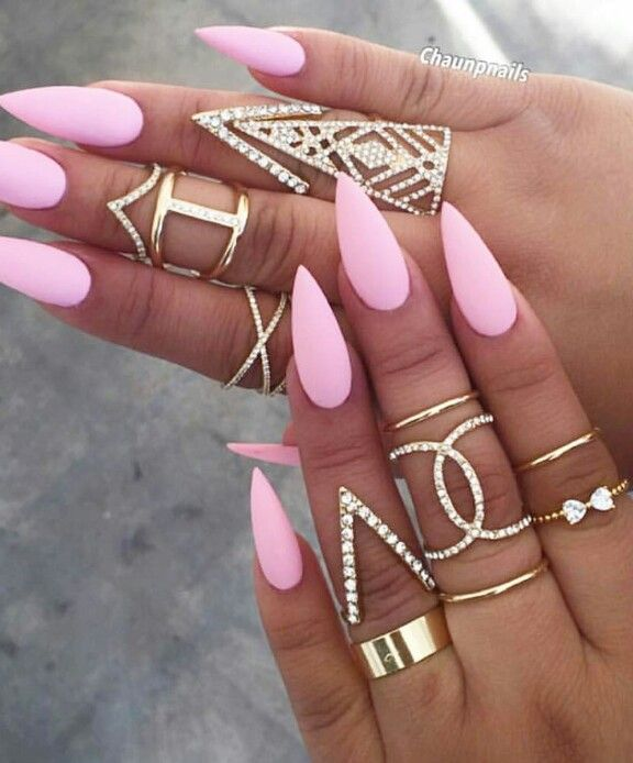 Pink pointy nails