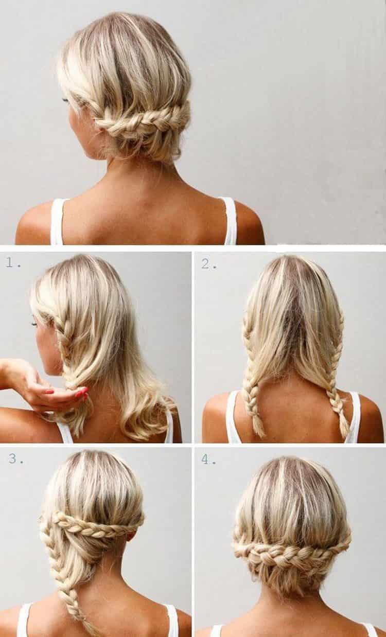 А вот хороший вариант вечерней прически на волосы до плеч.