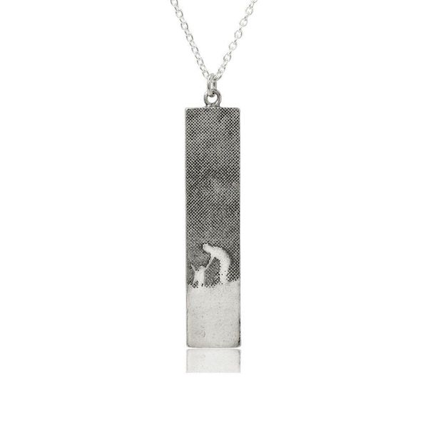 large silver dog scene necklace