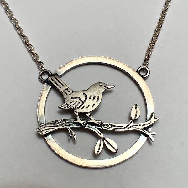 Blackbird scene necklace