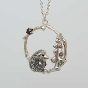 Hedgehog and foxglove necklace