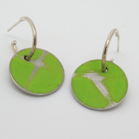 Green buoy drop earrings.