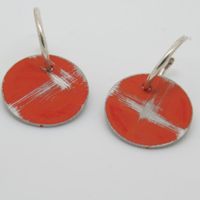 orange buoy hoop earrings