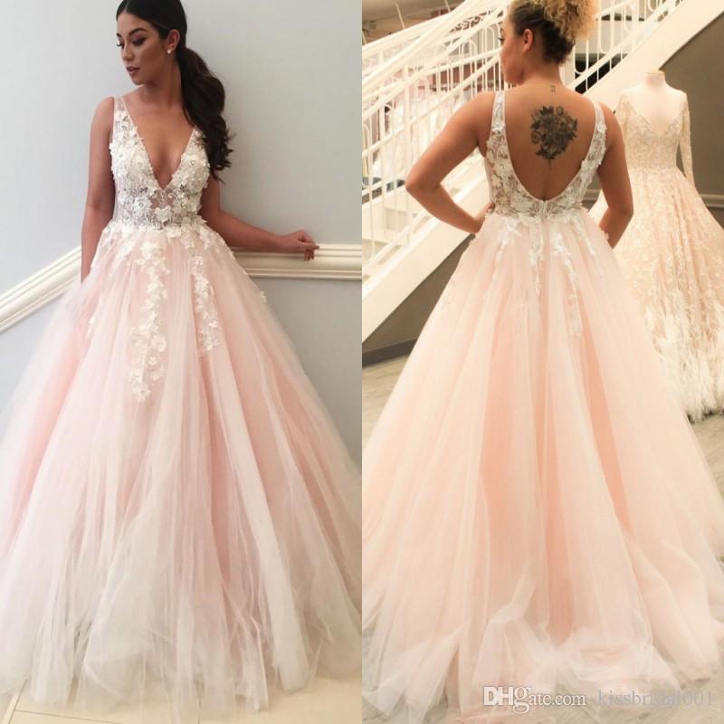 Blush pink wedding gowns