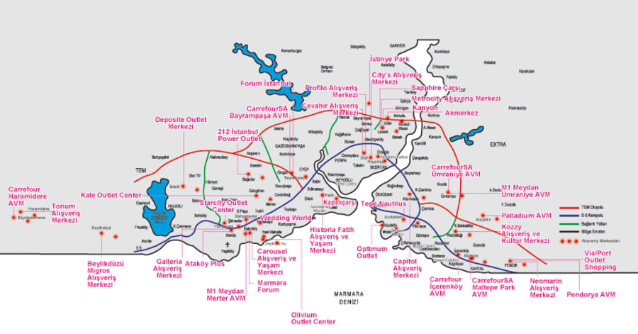 İstanbul'un Alışveriş Merkezleri Haritası