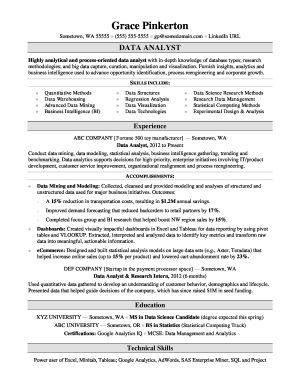Data Analyst: Resume Example