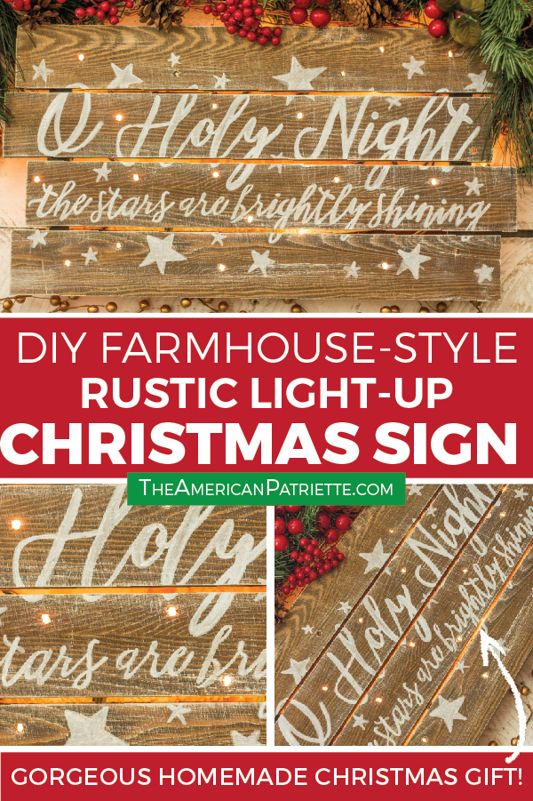 How to make a DIY vintage, farmhouse-style Christmas sign with lights. This gorgeous rustic piece of holiday home decor has a verse from O Holy Night painted on wood. You can make this exact easy and beautiful religious pallet sign using the free printable I've created for you to download! Make it for your own home for the holidays or as a homemade Christmas gift! #homemadechristmas #farmhousestyle #farmhousechristmas #rusticchristmasdecor #homemadechristmasdecor