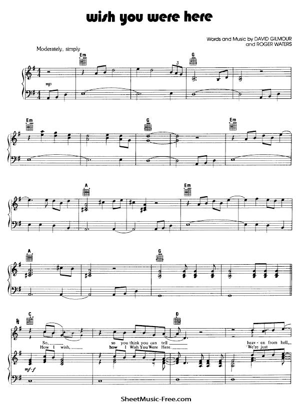 Wish You Were Here Sheet Music PDF Pink Floyd Free Download