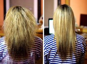 Кератин для волос до и после