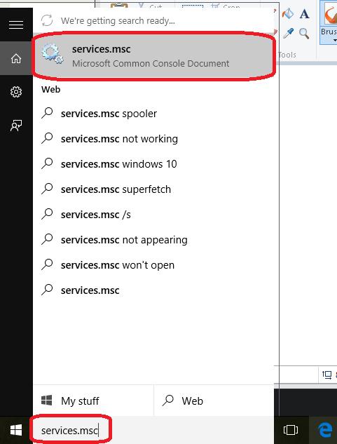 Opening service explorer in Windows 10