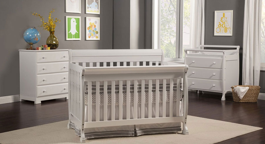 Davinci Kalani Crib In White With Matching Combo Dresser