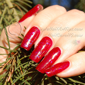 Image of Gel nail polish under red polish
