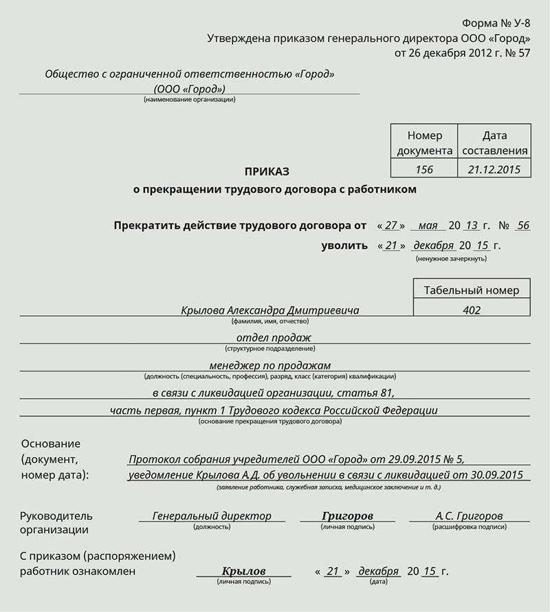 Увольнение работника в связи с ликвидацией организации