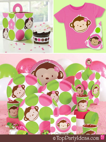 Pink mod monkey baby shower party supplies