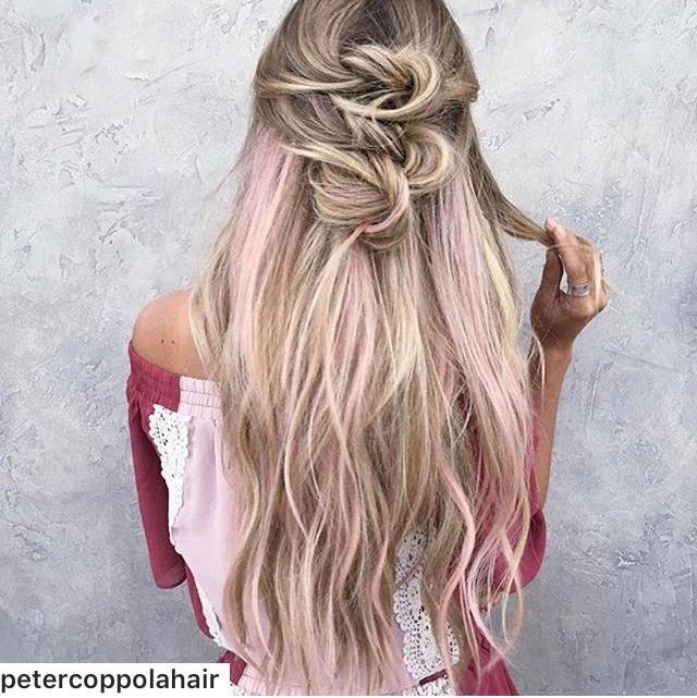 Long blonde hair with pink streaks