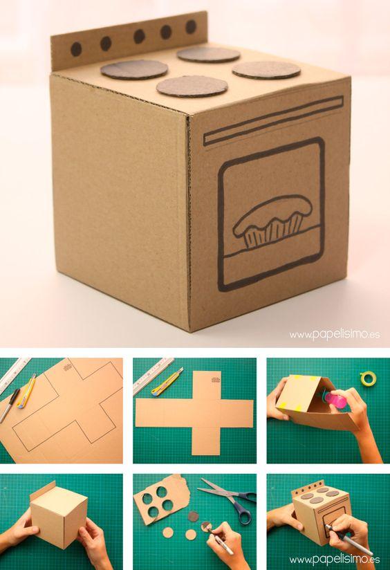 плита для куклы из картона