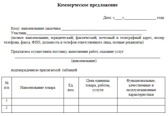 Запрос коммерческого предложения по 223 фз образец