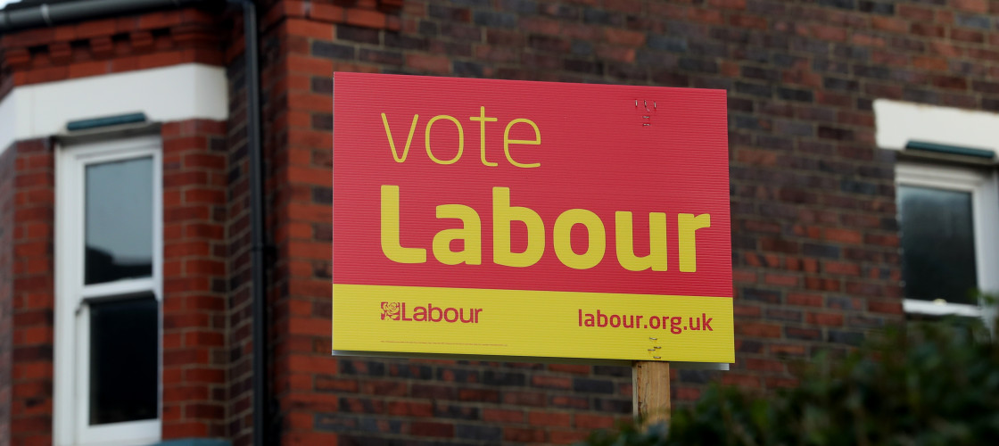 A Labour placard in Stoke-on-Trent