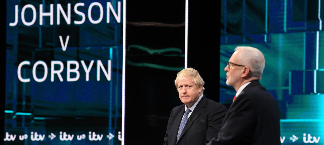 Boris Johnson and Jeremy Corbyn at ITV Leaders Debate