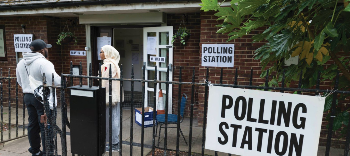 A woman at a Polling station in Islington. London