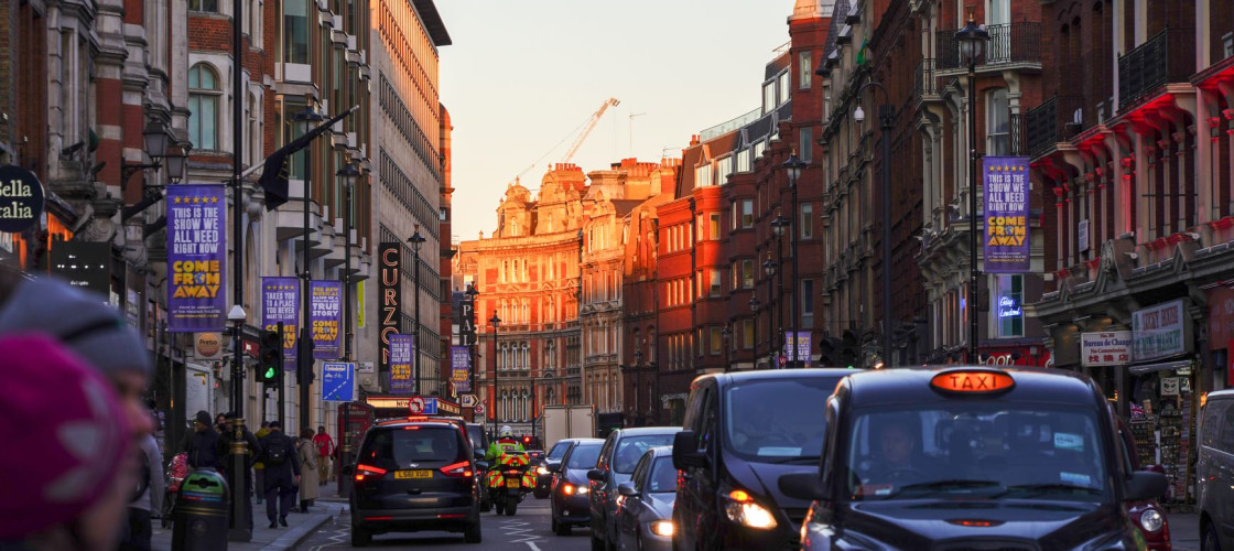 Traffic on Shaftesbury Avenue in Soho, London