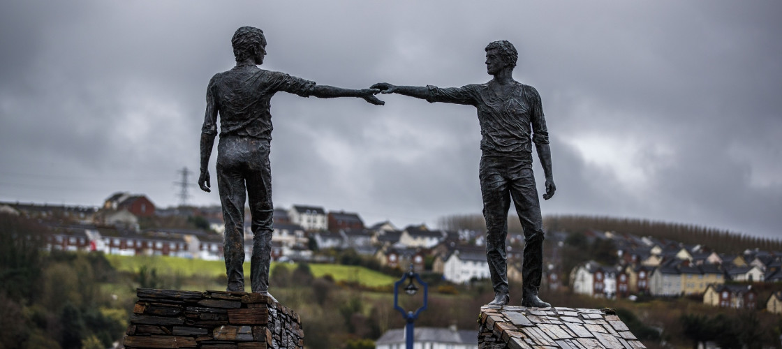 """""""Hands Across the Divide"""", a sculpture in Derry, a border city in Northern Ireland"""