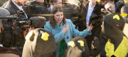 Jo Swinson speaks with XR protesters by the electric battle bus