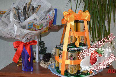Подарок мужу из пива и рыбы