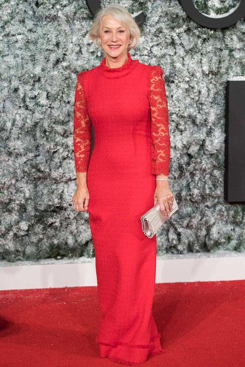 Helen mirren white dress in red