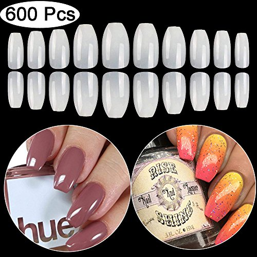 False Nails Fake Nails Short Coffin Nail Tips 600PCS Artificial Nails BTArtbox Short Ballerina Nails Full Cover Acrylic Nails Natural...