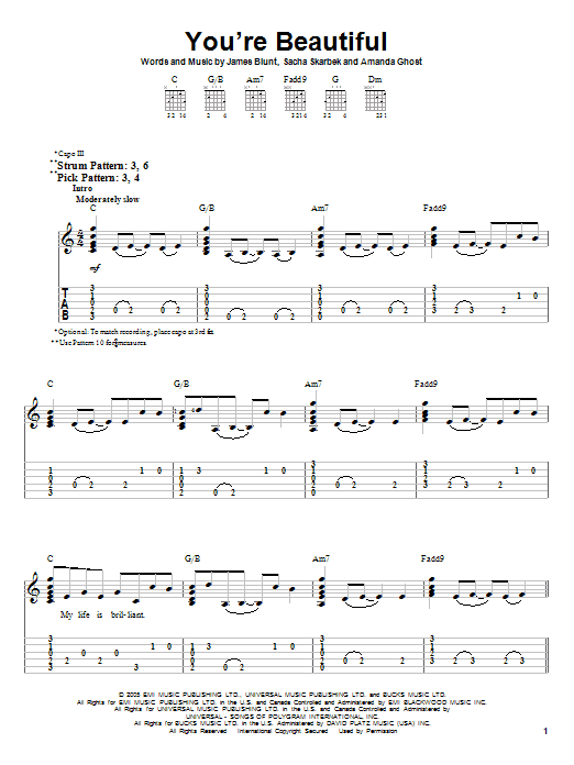 Guitar tabs for your beautiful by james blunt
