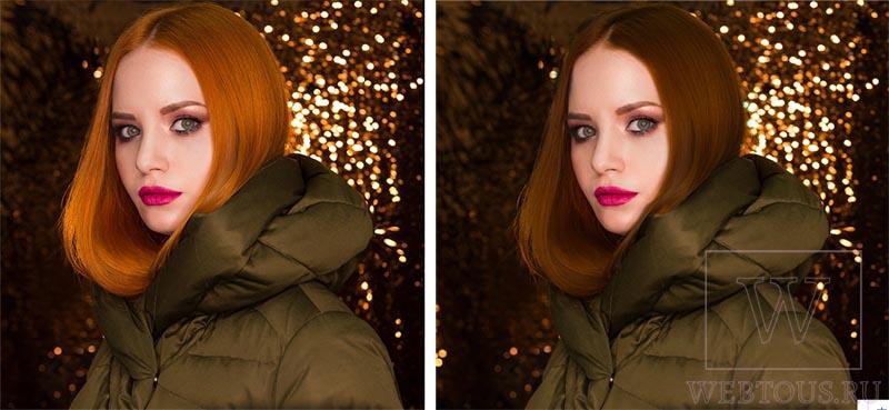 замена цвета волос с рыжего на каштановый