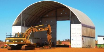 Two container tall DomeShelter for big digging equipment.