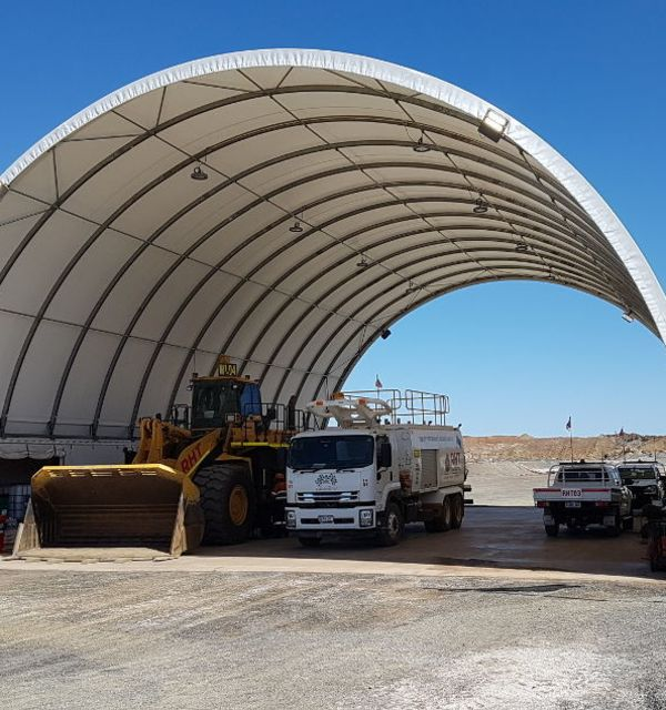 DomeShelter provides shade for humans and machinery.
