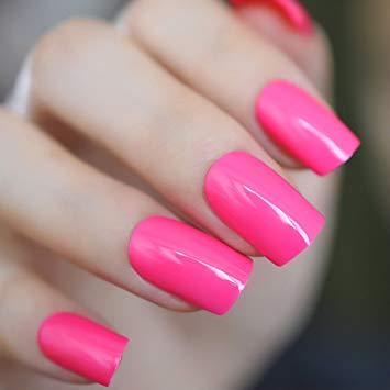 Hot pink false nails