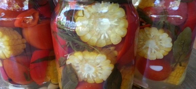 помидоры с кукурузой на зиму
