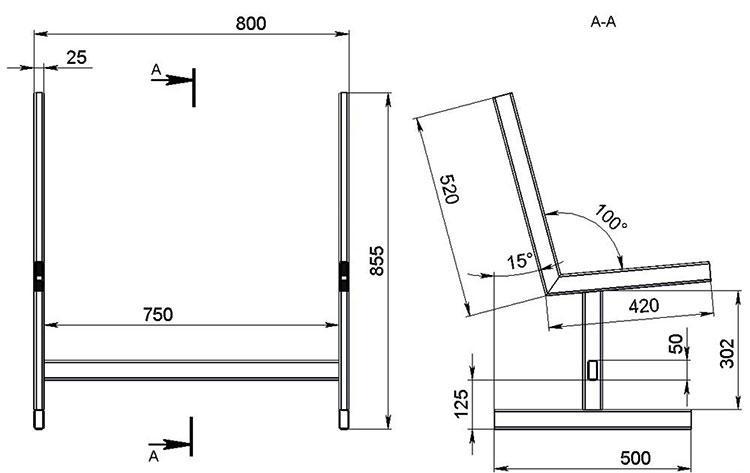 Чертеж скамейки из металлопроката